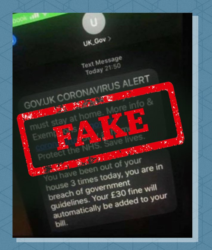 While the government has sent text messages, a message which claims that people are being tracked and fined for leaving the house is a fake