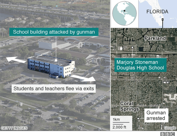 Map showing location of the attack and arrest of the gunman