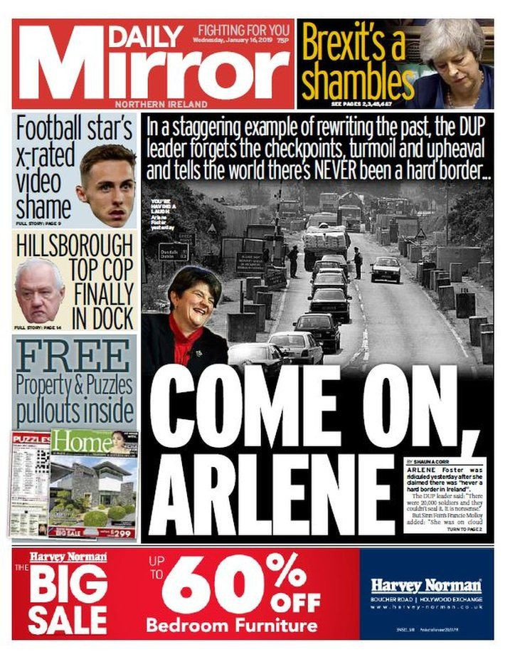 Front page of the Daily Mirror on Wednesday