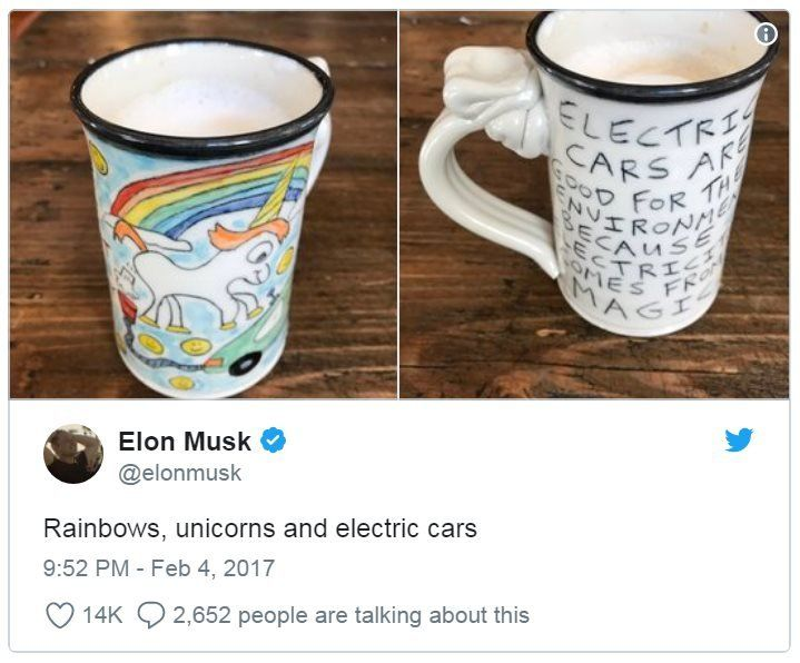 A tweet by Elon Musk showing a mug with an image of a unicorn farting electricity into a car