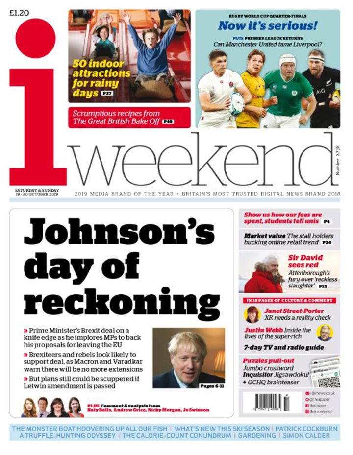 Newspaper headlines: 'Johnson's day of reckoning' as MPs vote on deal