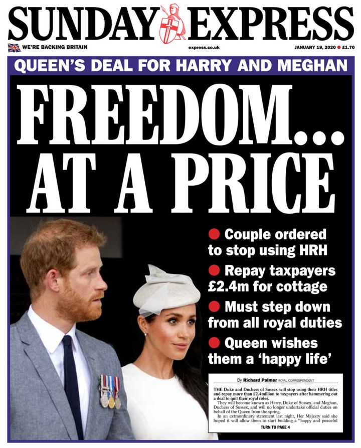 Newspaper headlines: 'Freedom at a price' as Queen seals 'hard Megxit'