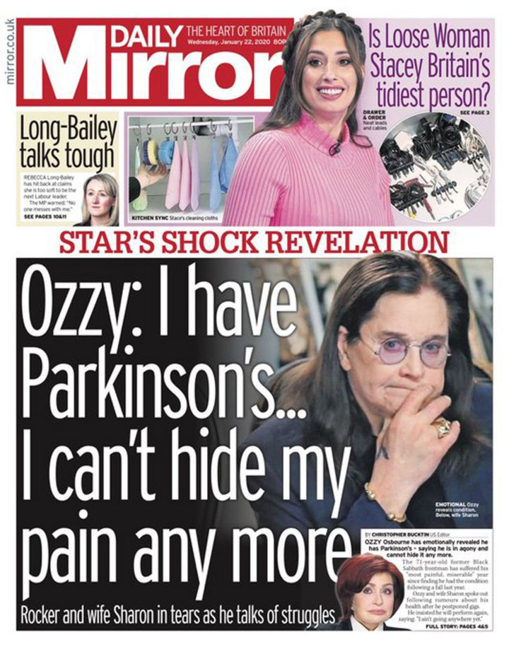 Newspaper headlines: Ozzy Osbourne's diagnosis and Trump climate row