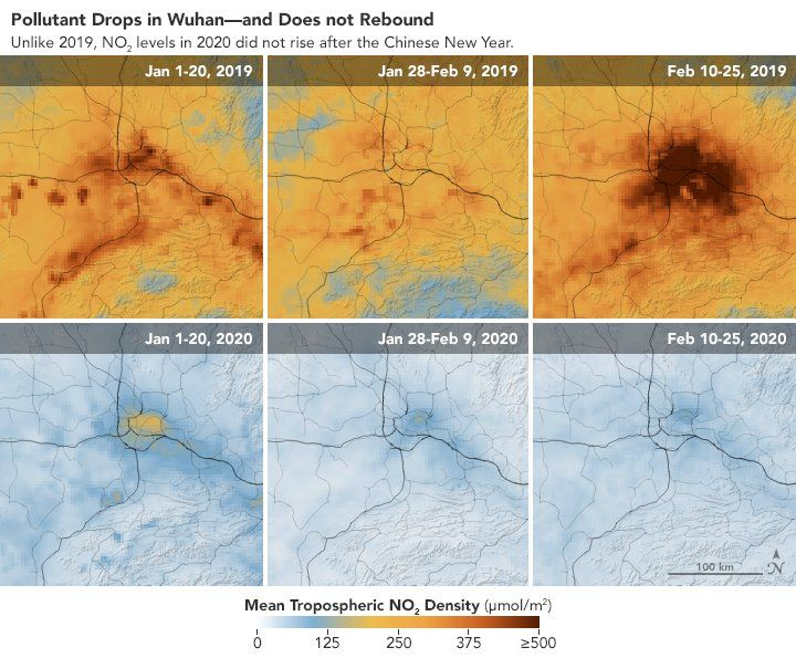 An image released by Nasa shows how pollution levels have dropped in Wuhan this year