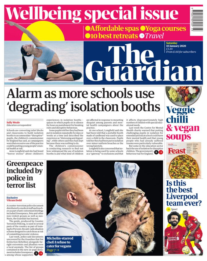 Newspaper headlines: 'Alarm' over school isolation booths and 'Mugxit'