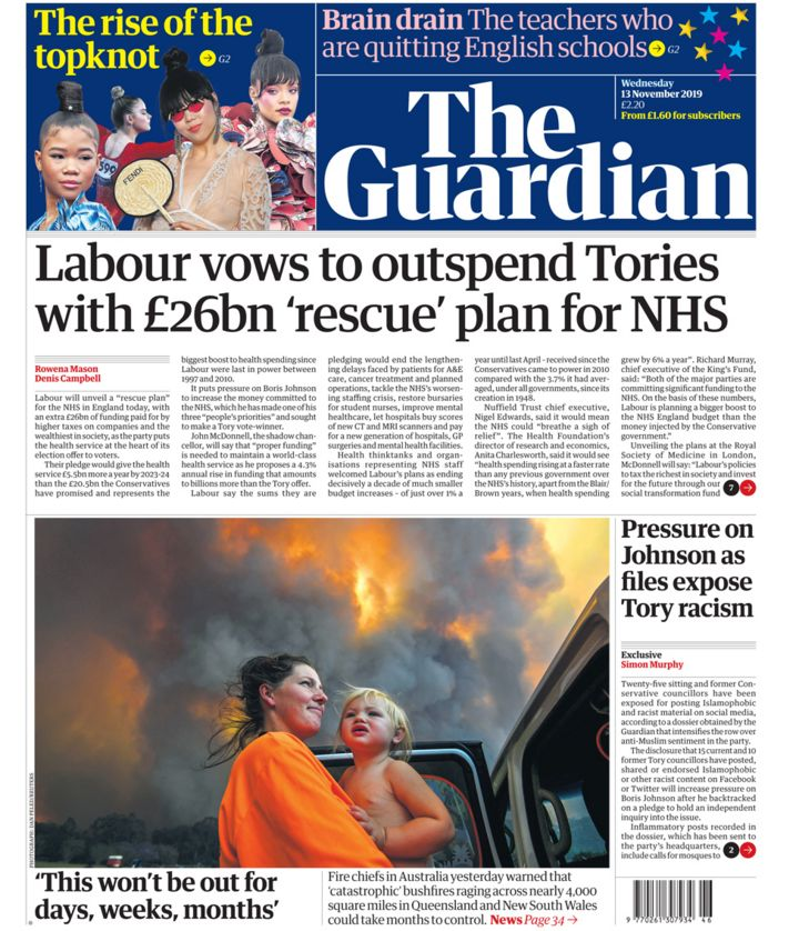 Newspaper headlines: Labour's NHS 'rescue plan' and Tories' poll 'surge'