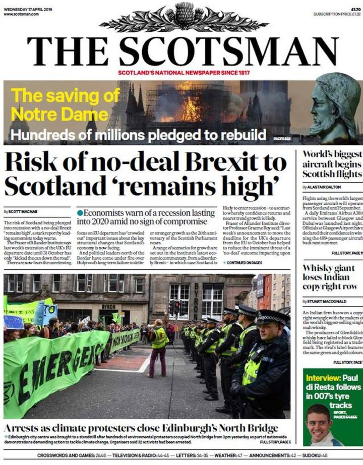 Scotland's papers: Brexit 'recession' and fightback of Notre Dame
