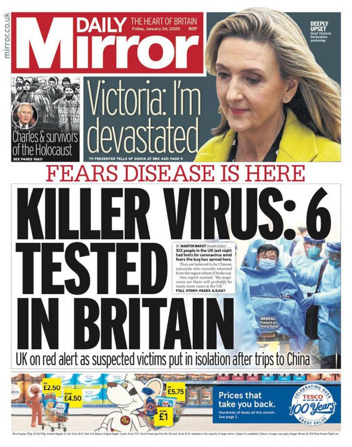 Newspaper headlines: Tests for 'killer virus' in Britain and HS2 report