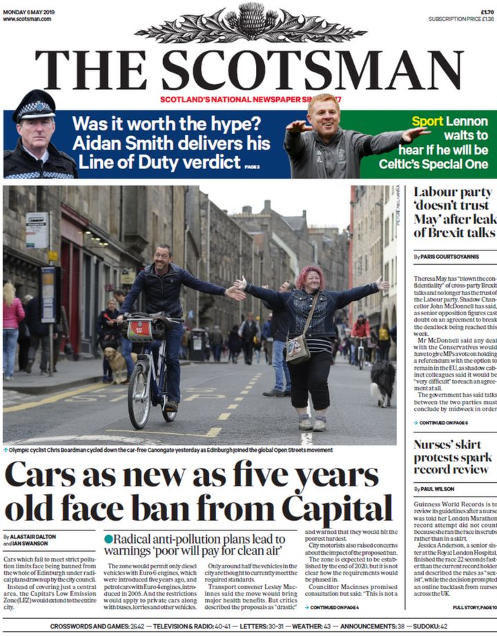 Scotland's papers: Anti-pollution car ban and Brexit 'pact' - BBC News