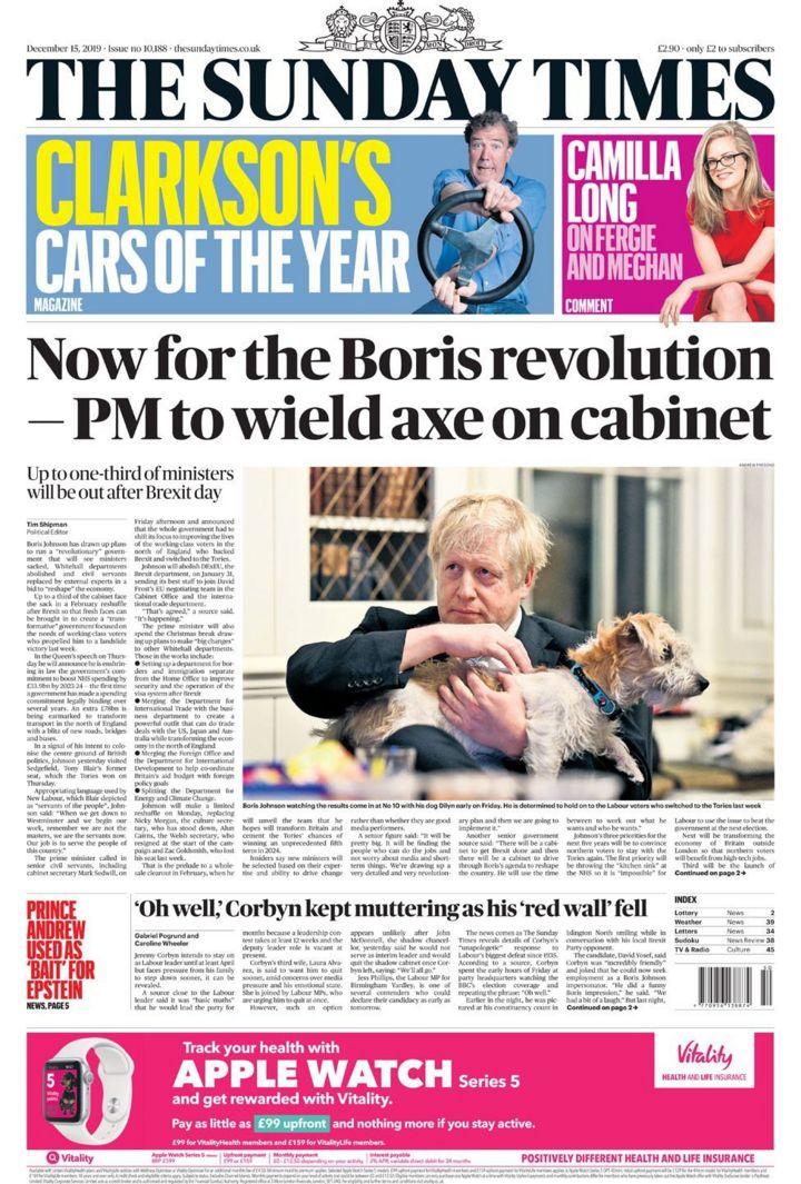 Newspaper headlines: Boris Johnson's 'Whitehall revolution' after election win