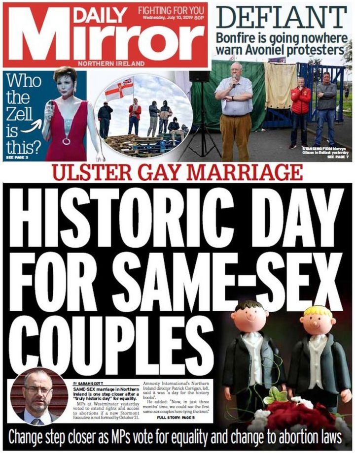NI paper review: Same-sex marriage change dominates front