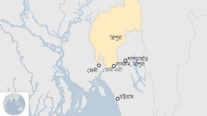 ভারতের ত্রিপুরায় উৎপন্ন হয়ে বাংলাদেশে প্রবেশ করেছে ফেনী নদী