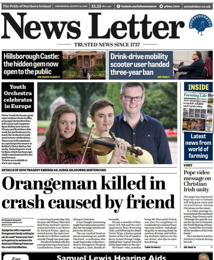 NI newspaper review: Scooter drink driver - BBC News