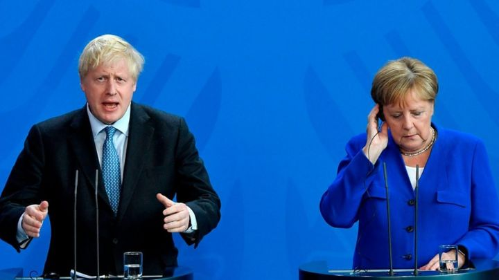 Brexit: Johnson and Merkel meet amid call to scrap backstop