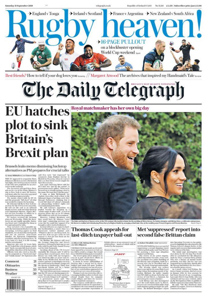 Newspaper headlines: EU 'dismisses' backstop alternatives and Thomas Cook 'on brink'