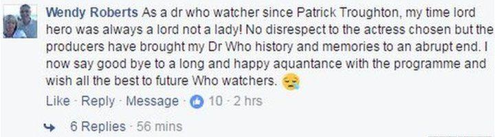 Wendy Roberts' Facebook post