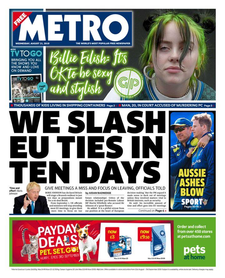 Newspaper headlines: Ties 'slashed' as UK walks away from EU