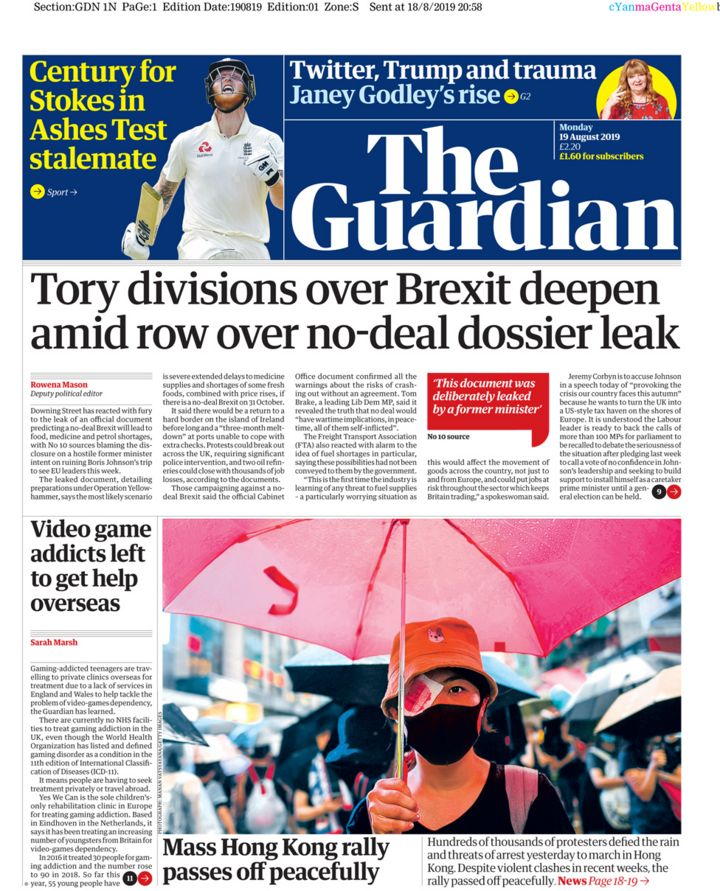 Newspaper headlines: 'Tory divisions' over 'leaked crisis plans for Brexit'