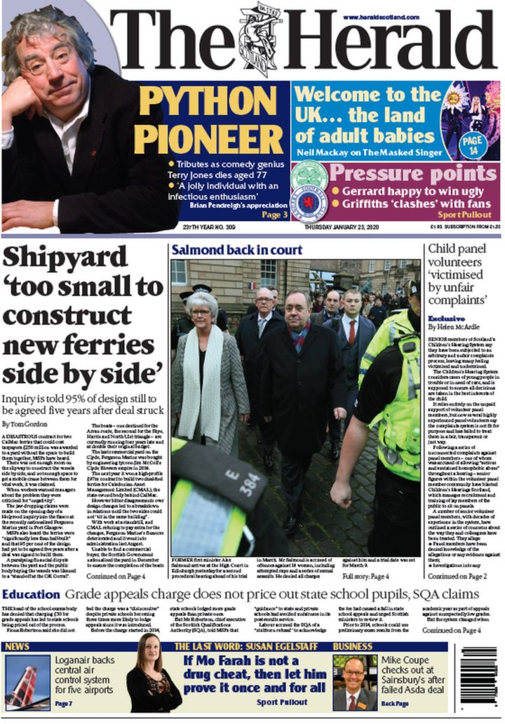 Scotland's papers: 'Disastrous' ferry contract and 'Gaelic first' schools