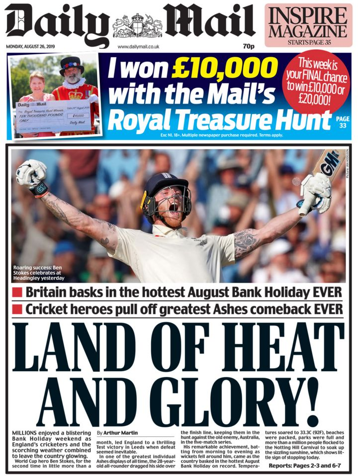 Newspaper headlines: Ben Stokes' Ashes heroism, and odds on a no-deal Brexit