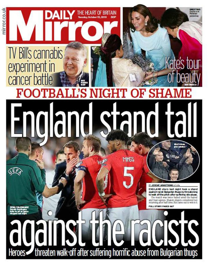 Newspaper headlines: England 'stand tall against the racists'