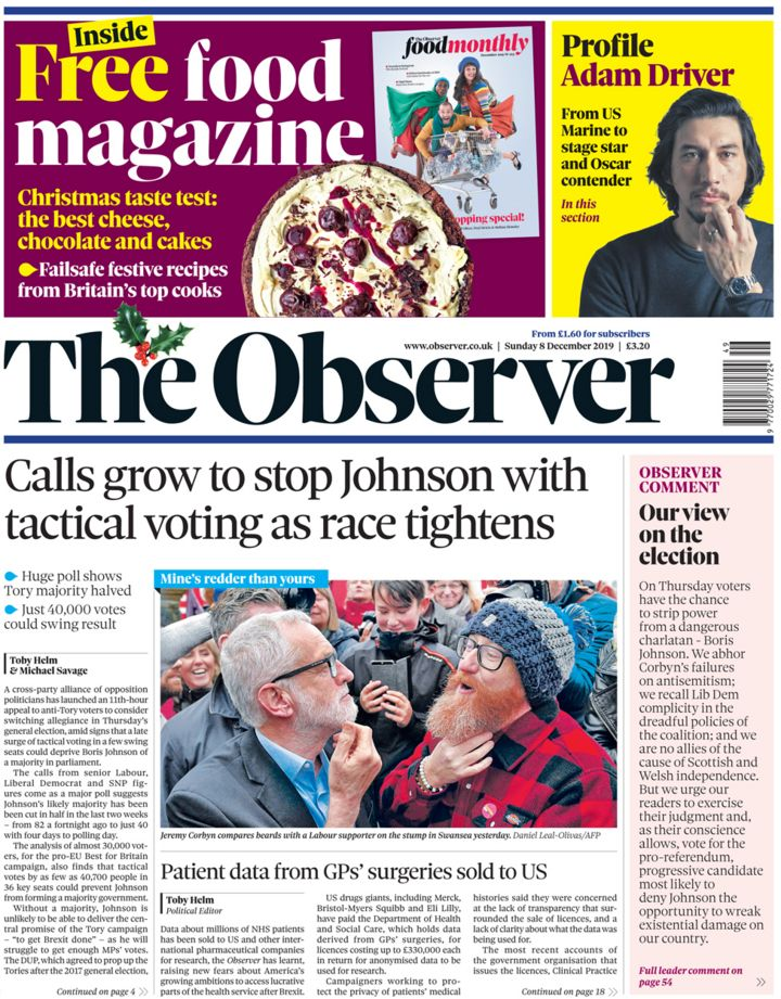 Newspaper headlines: 'Anti-Tory tactical vote' and 'Brexit is now up to you'