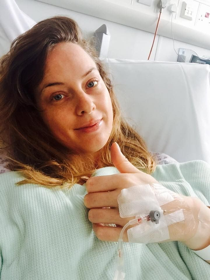 Sick bed: Carla recovering from her preventative double mastectomy