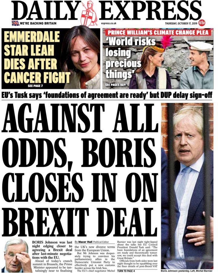 Newspaper headlines: Boris Johnson's Brexit deal balances 'on a knife edge'