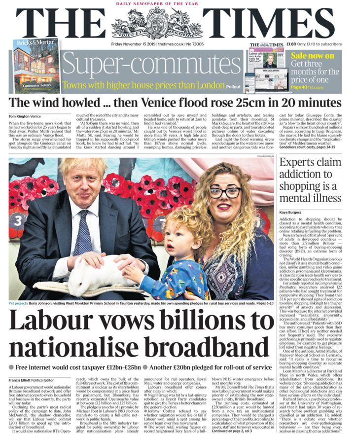 Newspaper headlines: Free internet pledge and high street tax cuts
