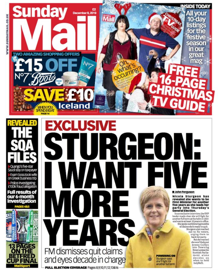 Scotland's papers: Sturgeon wants five more years in power