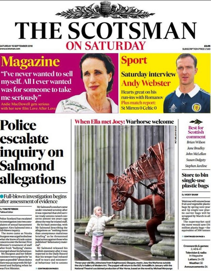 Scotland's papers: Alex Salmond police probe - BBC News