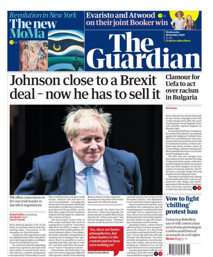 Newspaper headlines: Johnson 'on brink of Brexit deal' amid late talks