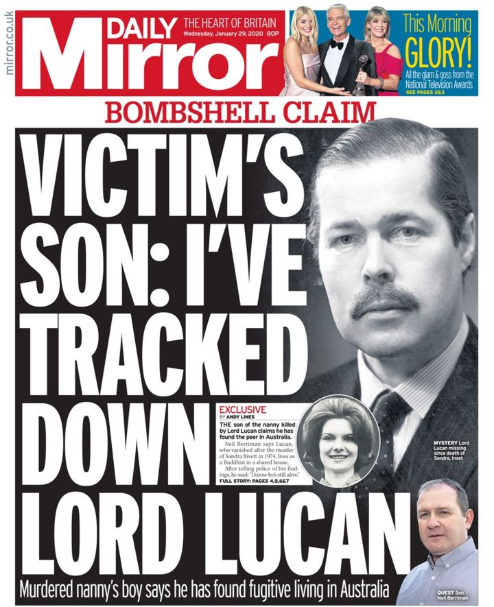 Newspaper headlines: Lord Lucan 'found' and Prince Andrew 'bewildered'