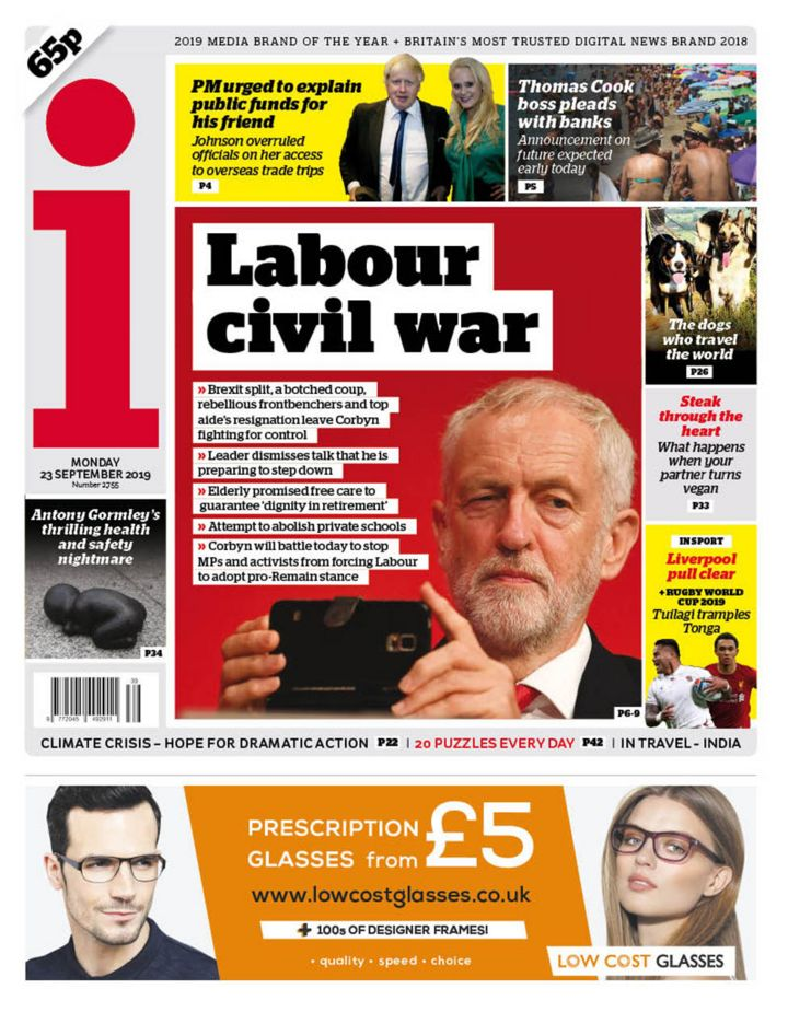 Newspaper headlines: Labour 'civil war' and Thomas Cook 'chaos'