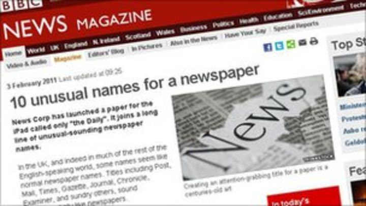 50 of the strangest newspaper names - BBC News