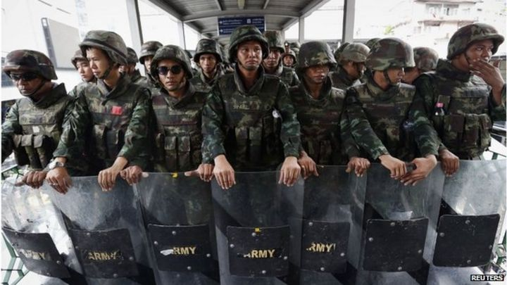 Thailand troops deployed to prevent anti-coup protest
