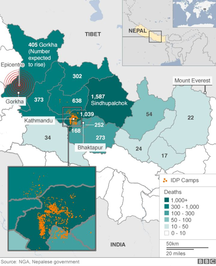 Nepal Earthquakes Devastation In Maps And Images BBC News - New us map after earthquake