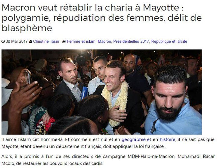 Screenshot of French website accusing Macron of wanting to establish Sharia in Mayotte