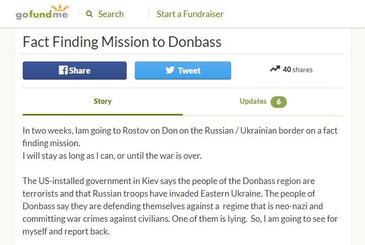 A screenshot from Russell Bentley's crowdfunding campaign to fund a fact finding mission to Donbass