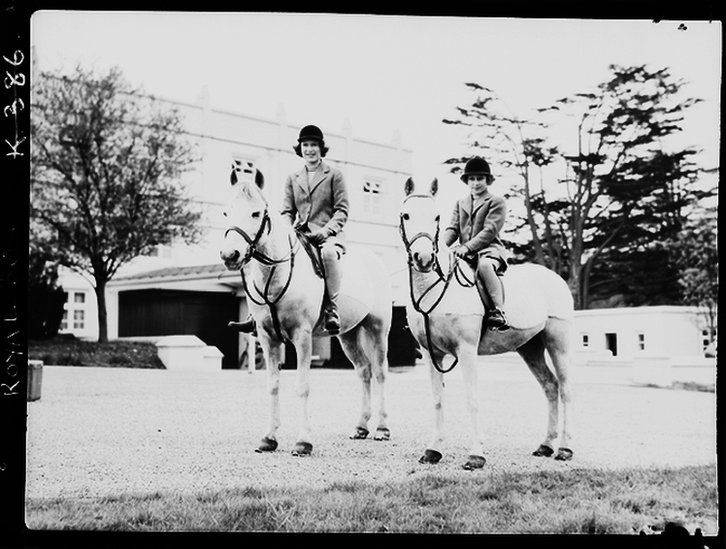 Princess Elizabeth and Margaret on horses