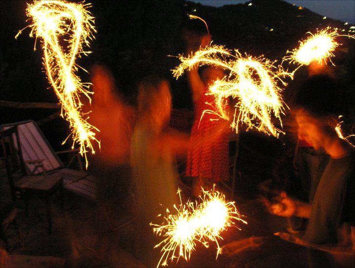 People waving sparklers in the dark
