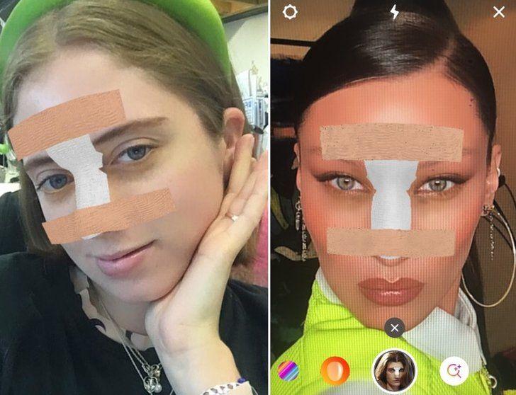 User and Bella Hadid using Rhinoplasty filter