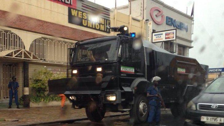 Police truck in Bujumbura, Burundi - 17 April 2015