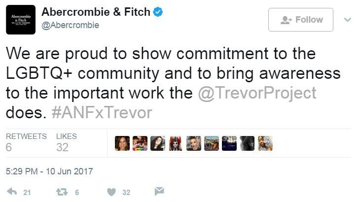 """Abercrombie & Fitch wrote on Twitter: """"We are proud to show commitment to the LGBTQ+ community and to bring awareness to the important work the @TrevorProject does""""."""