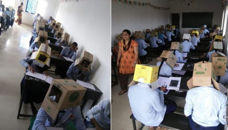 Collage images showing students sitting taking an exam with boxes on their heads