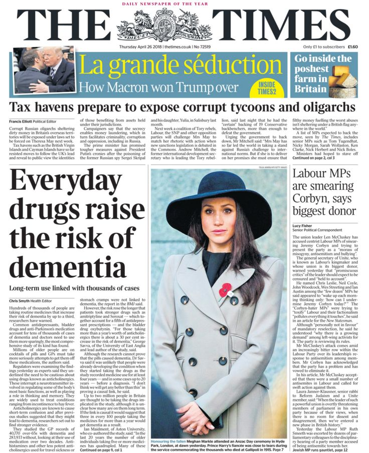 Times front page - 26/04/18