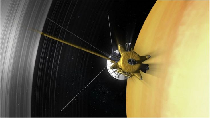 Artwork: Cassini plunged between the rings and the planet's cloudtops