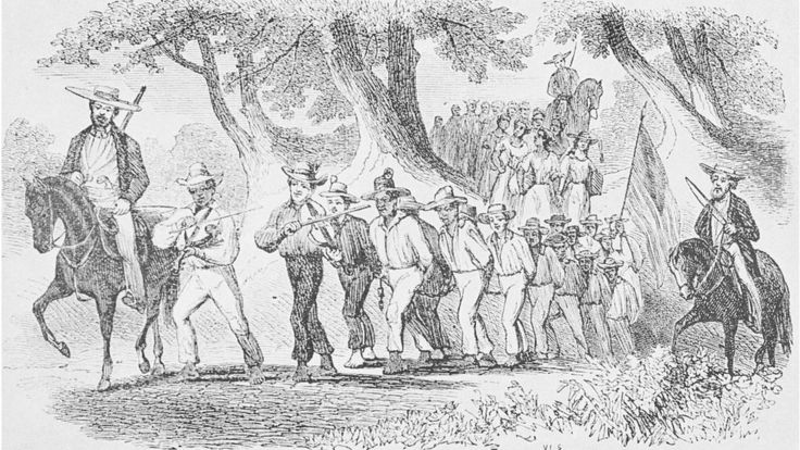 An etching depicting a group of slaves being marched while they are bound together with chains, they are being led by white men on horses who carry guns and whips