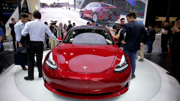 A Tesla Model 3 car is displayed during a media preview at the Auto China 2018 motor show in Beijing, China April 25, 2018