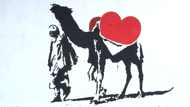 Painting of camel and heart in Kabul